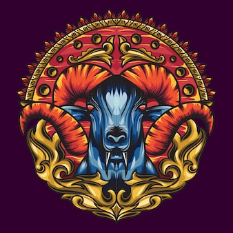 Mythology goat sacred geometry with a beautiful blend of colours.