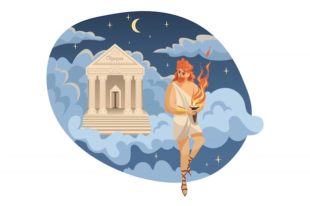 Mythology, greece, olympus, legend, religion concept.