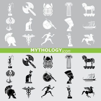 Mythology icons. line set.