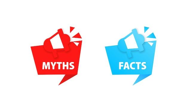 Мифы и факты значок. правда и ложь, фальшивка, ложь, ложь. вектор eps 10. изолированный на белой предпосылке. Premium векторы