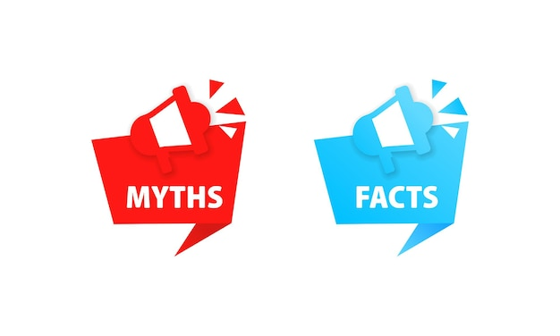 Myths and facts icon. truth and lie, fake, false, wrong. vector eps 10. isolated on white background.