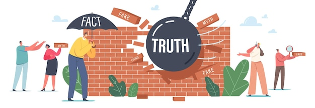 Myths and facts, information accuracy concept. characters under umbrella, ball demolishing fake news wall. trust and honest data source versus, fiction authenticity. cartoon people vector illustration