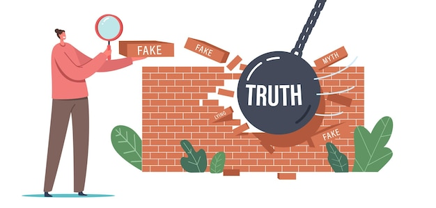 Myths and facts social media forgery information concept. woman with magnifying glass looking on broken wall made of fake news bricks. character read false media info. cartoon vector illustration