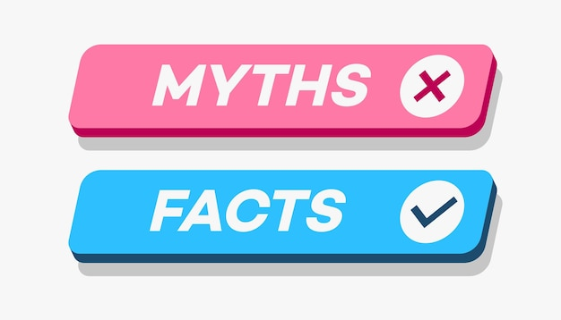 Мифы против фактов в стиле d, изолированные на белом фоне, проверка фактов или концепция простого сравнения доказательств