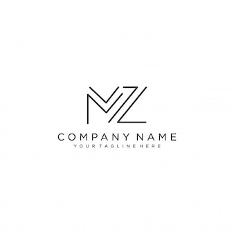 Mz letter logo design template vector