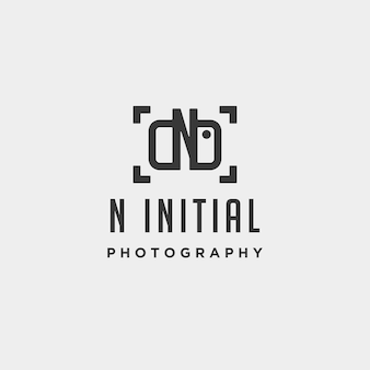 N initial photography logo template vector design icon element