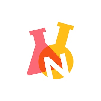 N letter lab laboratory glassware beaker logo vector icon illustration