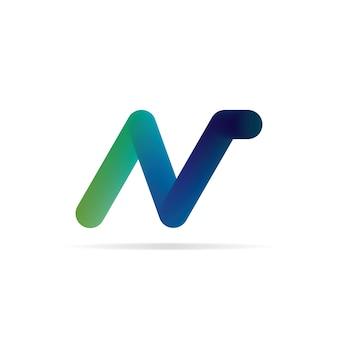 N文字のロゴ。 3d初期ロゴテンプレート。