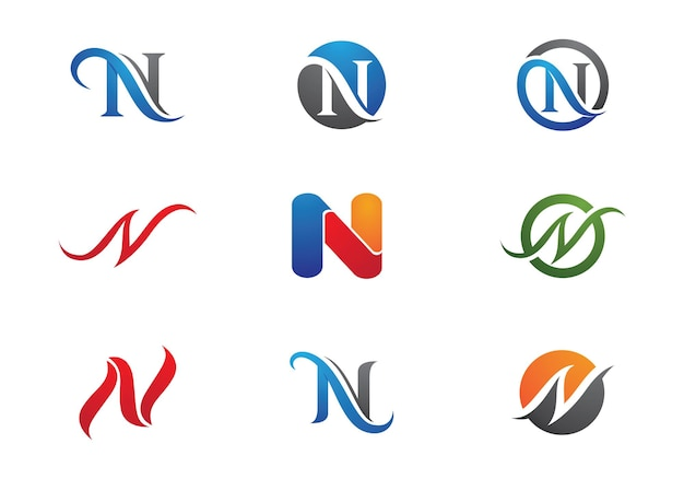 N письмо логотип бизнес шаблон вектор значок