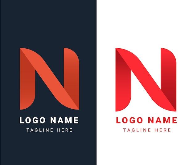 N письмо логотип дизайн шаблона