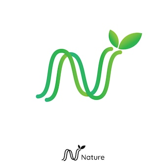 N letter logo. initial line nature leaf logo. green product icon logo concept