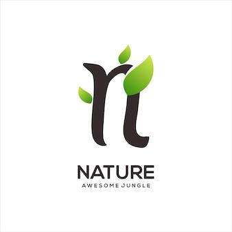 N письмо логотип инициалы градиент абстрактный