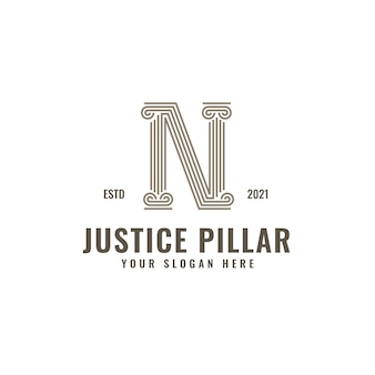 N letter logo justice and law firm pillar bold professional line art