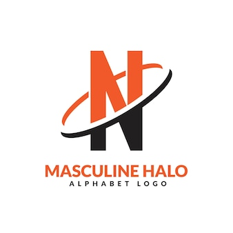 N文字オレンジと黒の男性的な幾何学的なリングのロゴベクトルアイコンイラスト