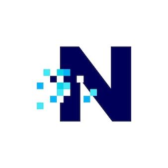 N 문자 픽셀 마크 디지털 8 비트 로고 벡터 아이콘 그림