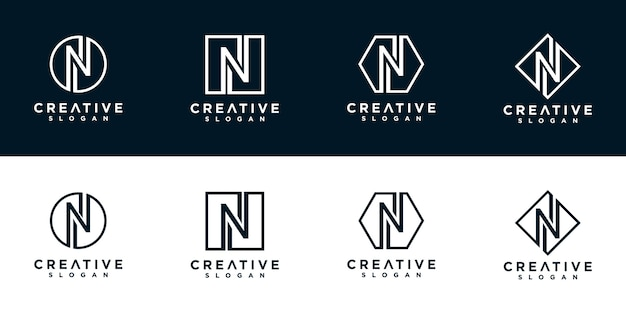 Nロゴデザインテンプレートのイニシャル