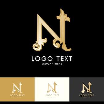 Логотип n, монограмма n, золото, вектор n, дизайн логотипа