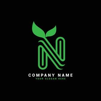 N natural letter logo , n letter logo with leaves,eco,botanical