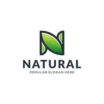 N natural logo concept