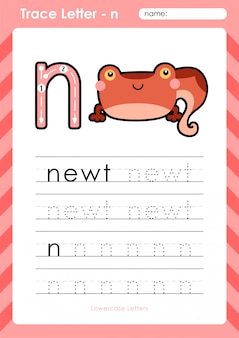 N newt : alphabet a-z tracing letters worksheet - exercises for kids