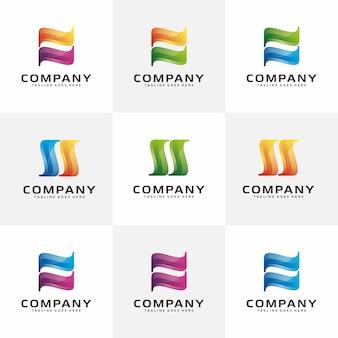 文字n、s現代の抽象的なロゴ