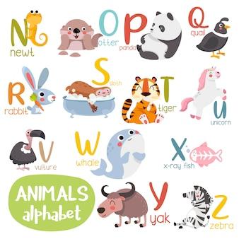 動物アルファベットグラフィックn〜z。漫画スタイルの動物とかわいい動物園アルファベット。