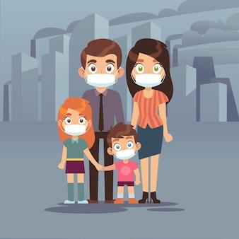 Семейный городской смог. люди защитные маски для лица загрязнение воздуха смог токсичные промышленные вредные отходы пылезащитная маска n95 pm2, 5, изолированные