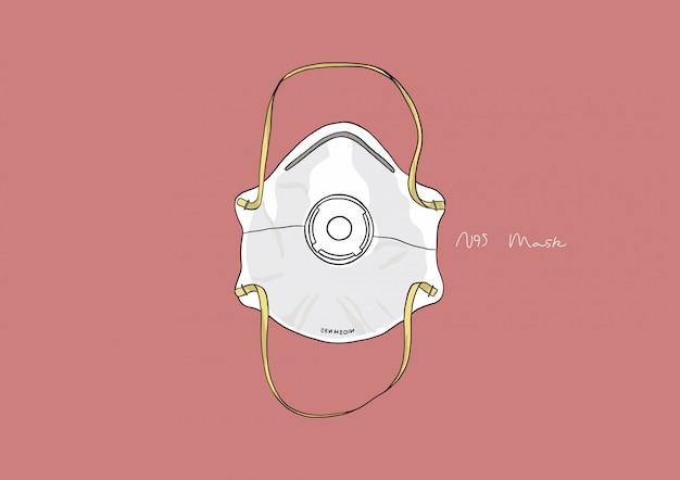 Иллюстрация n95 маска / хирургическая маска / маска для лица / медицинская маска