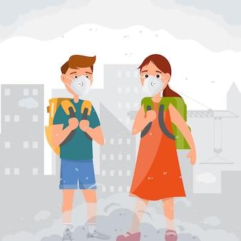 Дети с масками n95. грязная среда от пыли.