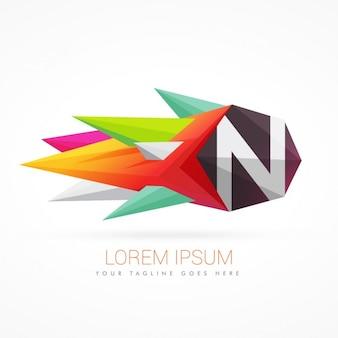 Nの文字でカラフルな抽象的なロゴ