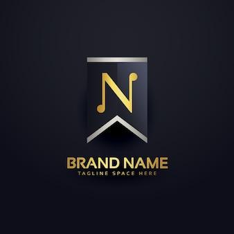 文字nを作成するロゴデザインテンプレート