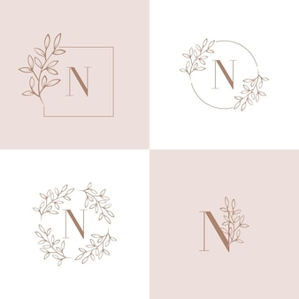 蘭の葉の要素を持つ文字nロゴデザイン