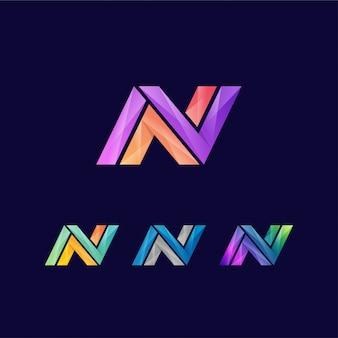 活気のある創造的な手紙nロゴデザインテンプレート