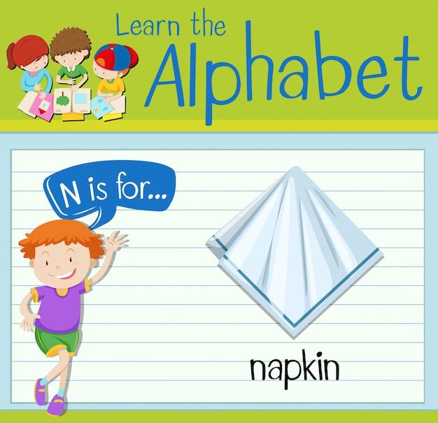 フラッシュカード文字nはナプキン用です
