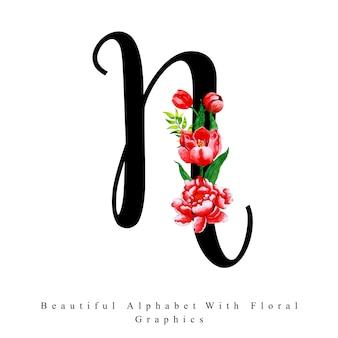 アルファベットの手紙n水彩の花の背景