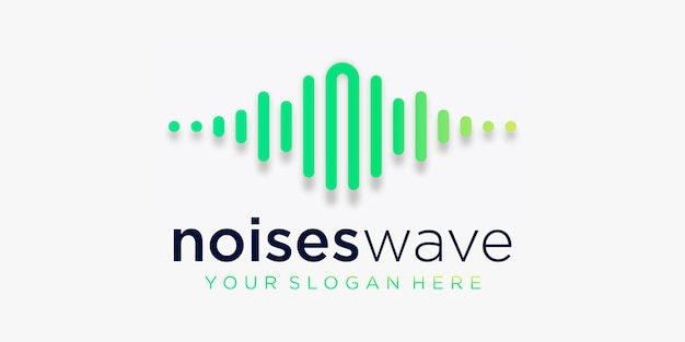 Буква n с импульсным логотипом. элемент шумов. шаблон логотипа электронная музыка, эквалайзер, магазин, диджей музыка, ночной клуб, дискотека. аудио волна логотип концепция, мультимедийные технологии тематические, абстрактные формы.