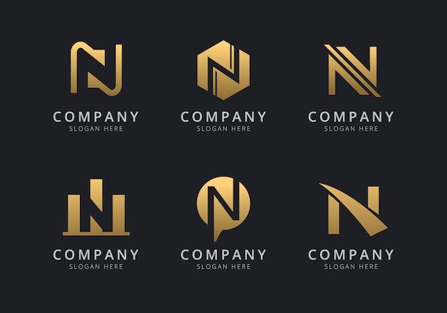Инициалы n, шаблон логотипа с золотистым стилем цвета для компании