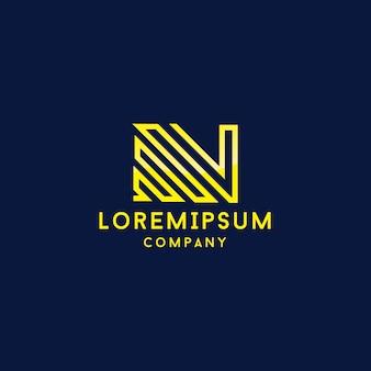 手紙n。抽象的な現代的なロゴデザインベクトルテンプレート。フォント行ロゴタイプ