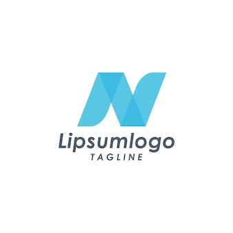 青い文字のn文字ロゴアイコンのデザインテンプレート要素