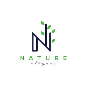 自然のロゴのデザインテンプレートの文字n