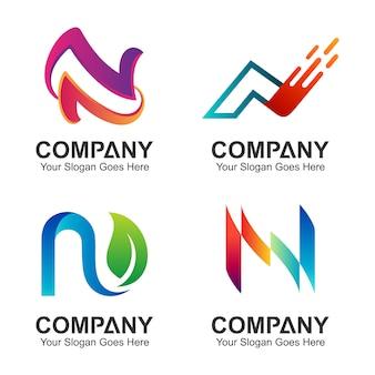最初の文字nのロゴデザインのセット