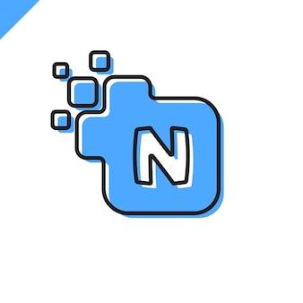 ビジネス企業の正方形文字nフォントロゴのデザイン