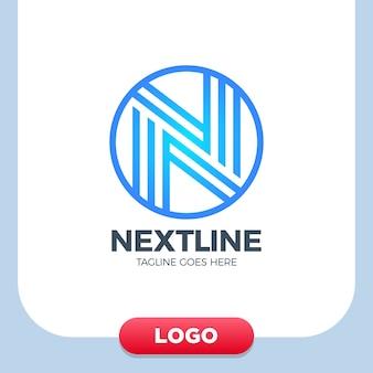 創造的な手紙nロゴデザインベクトルテンプレートリニア。