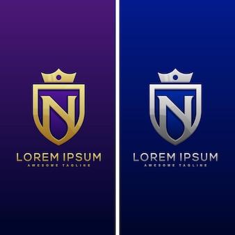 N文字シールドロゴと盾のアイコンベクトルのデザインテンプレート