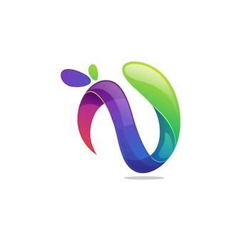 Буква n логотип вектор