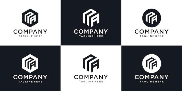 크리에이티브 기하학을 사용한 na 문자 로고 디자인