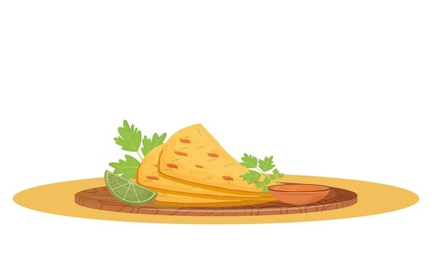 ナンパン漫画。伝統的なインド料理、木の板の平らな色のオブジェクトにソースを添えたフラットブレッドを提供しました。レストランの料理、白い背景で隔離のクリスピーベーカリー