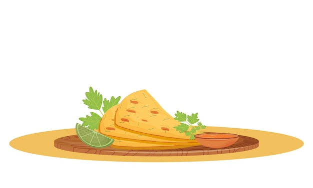 Naan bread cartoon . served traditional indian meal, flatbread with sauce on wooden board flat color object. restaurant food, crispy bakery isolated on white background