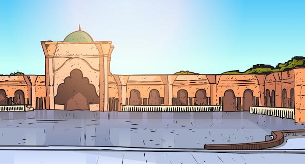 Здание мечети набави мусульманская религия рамадан карим священный месяц