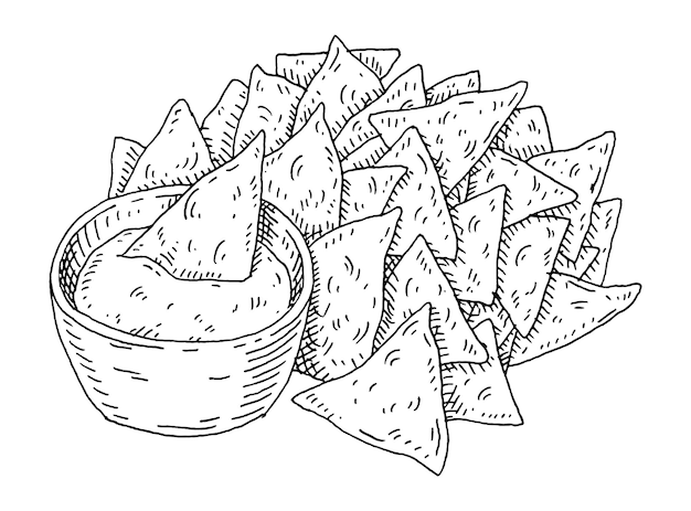 Nachos chips with guacamole in pan. vintage hatching illustration.
